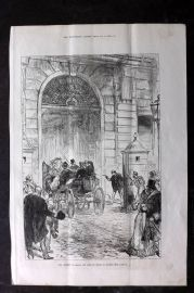 ILN 1880 Antique Print. Attempt to Shoot the King of Spain at Madrid